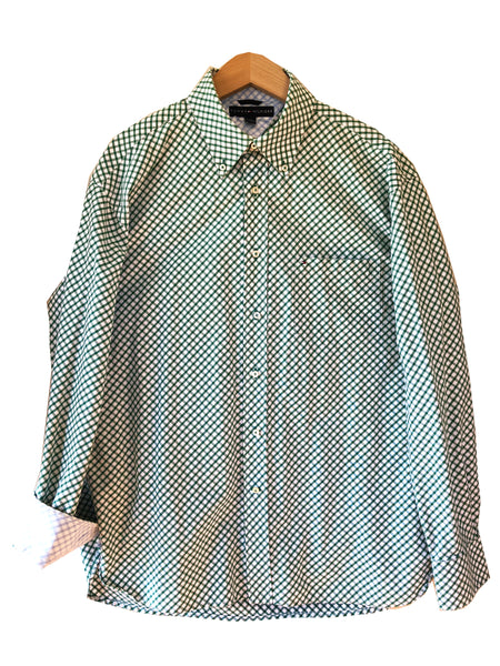 Tommy Hilfiger Green & White Diagonal Check Flip Cuff Long Sleeve Shirt Size L
