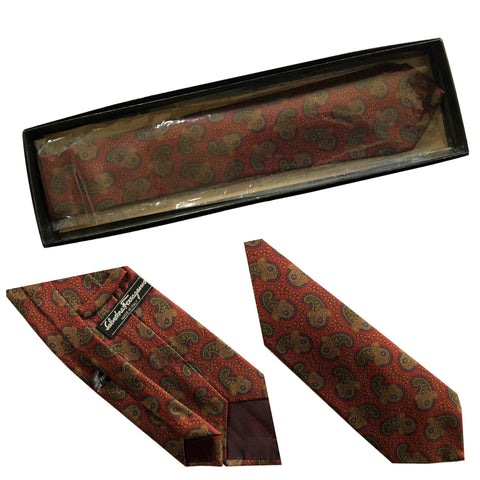 Vintage Salvatore Ferragamo Made in Italy 100% Silk Paisley Print Tie NEW IN BOX