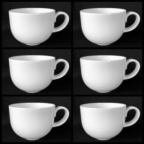 Crate & Barrel Set of 6 CBL132 All White Smooth Rim Flat Cups 2-1/2""