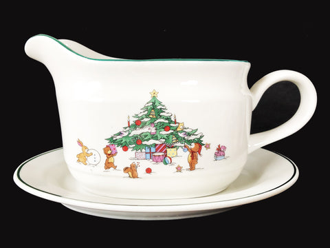 Whimsical Christmas by Salem China Co. Gravy Boat & Underplate
