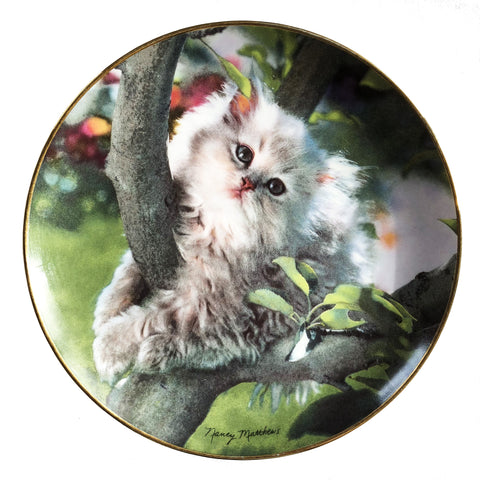 Franklin Mint Out On A Limb Nancy Matthews 1994 Ltd Edition Porcelain Cat Plate