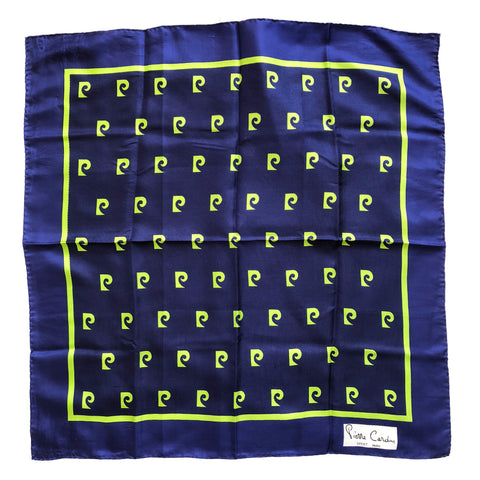 "Vintage Pierre Cardin Sport Paris Blue & Green Signature Logo Scarf 25"" Square"