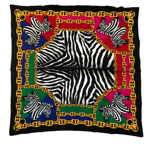"Bob Mackie Wearable Art Signed Zebra & Chain Print Large 40"" Square Silk Scarf"