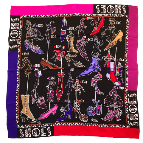 "Bob Mackie Wearable Art Signed Vintage Shoes Shoes Shoes 40"" Square Silk Scarf"