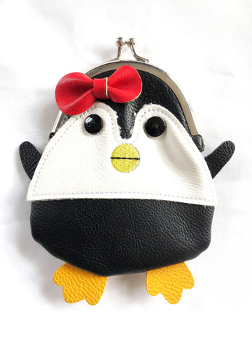 Penguin Leather Color Block Kissing Clasp Coin Purse