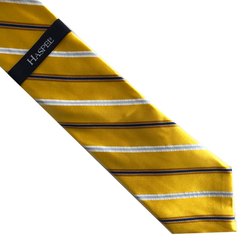 "Haspel Yellow/Gold/Blue/White Diagonal Stripe 59"" Silk Neck Tie"