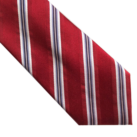 "Tasso Elba SPA Red Diagonal Stripe 60"" Classic Silk Neck Tie"