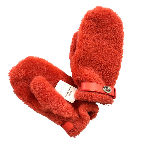Coach New York Orange Sheep Shearling w/ Leather Trim Wool Lining Mittens Sz M/L