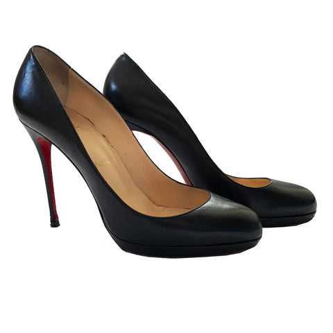 Christian Louboutin Black Napa Leather Rolando Hidden-Platform Pumps Size 38 / 8