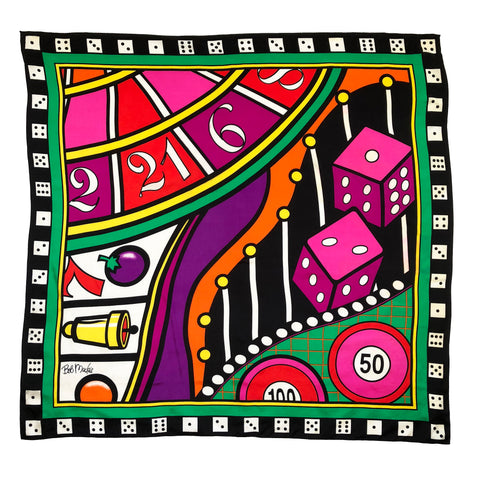 "Bob Mackie Wearable Art Vegas Monte Carlo Casino Dice 34"" Square Silk Scarf"