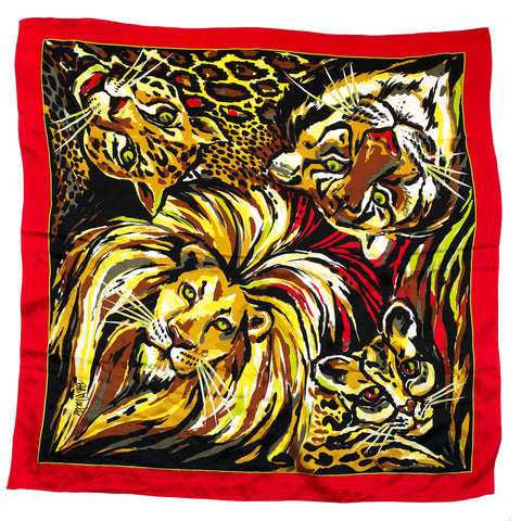 "Bob Mackie Wild Cats - Lion Tiger Leopard - Animal Print 40"" Square Silk Scarf"