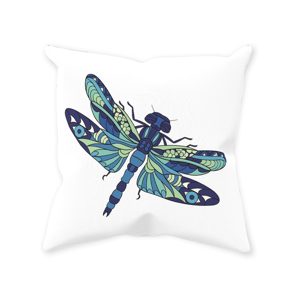 Dragonfly Original Zentangle / Stylized Art Throw Pillow 14 x 14