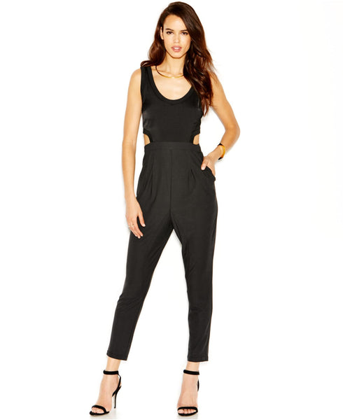 Rachel Roy Black Deep Scoop Neck Cut-Out Sides High Waist Jumpsuit Romper Sz 14