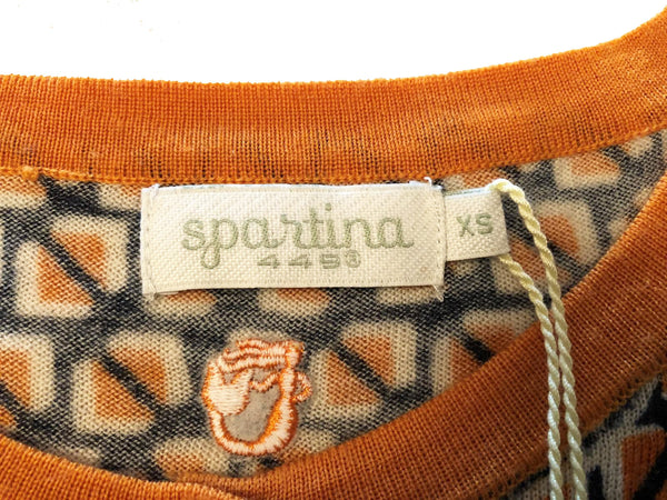 Spartina 449 Fair & Square Cardigan 3/4 Sleeve Lightweight Merino Wool Size S