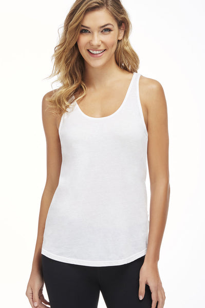 Fabletics Back Track Tee II White Layered Racerback Top Size Medium