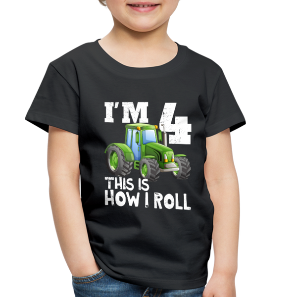 Green Tractor I'm 4 This Is How I Roll Toddler Premium T-Shirt - black