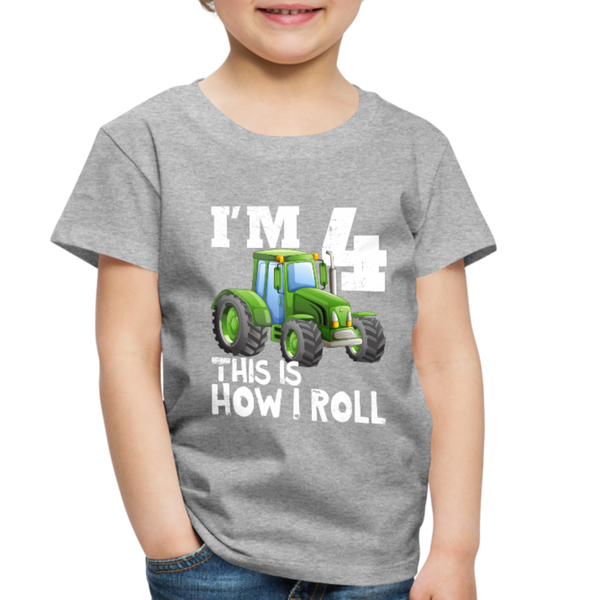 Green Tractor I'm 4 This Is How I Roll Toddler Premium T-Shirt - heather gray