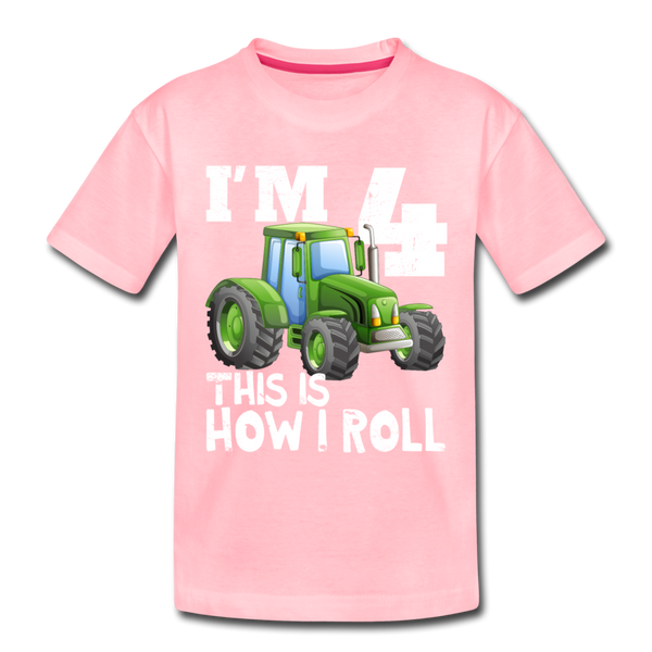 Green Tractor I'm 4 This Is How I Roll Toddler Premium T-Shirt - pink
