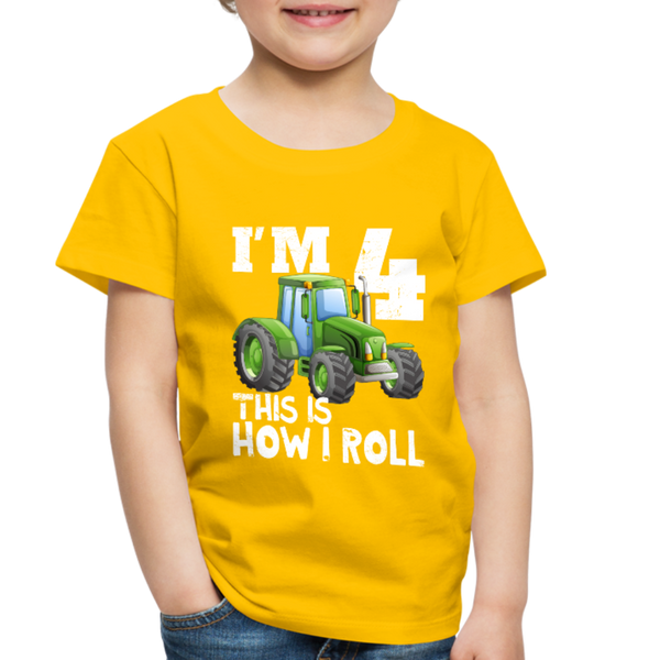 Green Tractor I'm 4 This Is How I Roll Toddler Premium T-Shirt - sun yellow