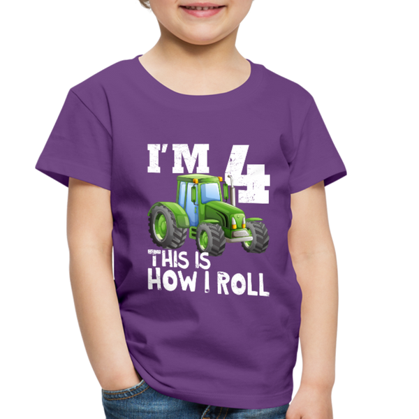 Green Tractor I'm 4 This Is How I Roll Toddler Premium T-Shirt - purple