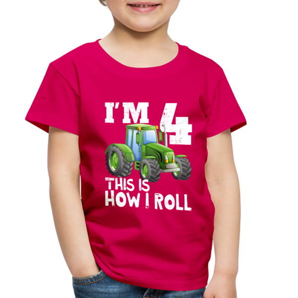 Green Tractor I'm 4 This Is How I Roll Toddler Premium T-Shirt - dark pink