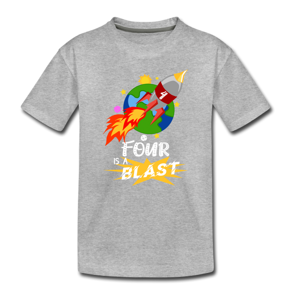 4 Years Old Birthday Rocket Space Ship Blast Off Toddler Premium T-Shirt - heather gray