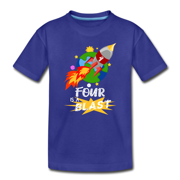 4 Years Old Birthday Rocket Space Ship Blast Off Toddler Premium T-Shirt - royal blue