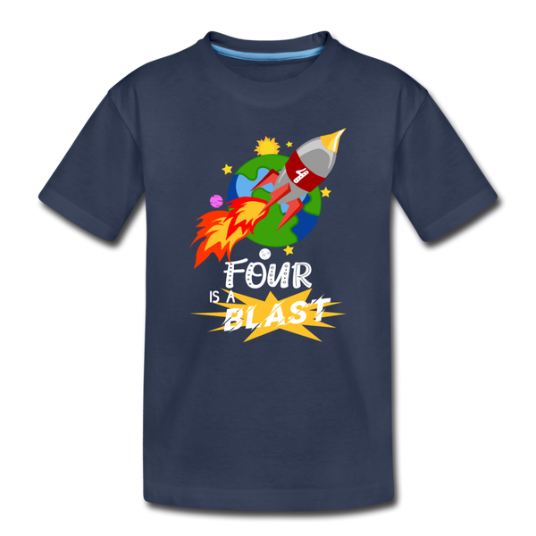 4 Years Old Birthday Rocket Space Ship Blast Off Toddler Premium T-Shirt - navy