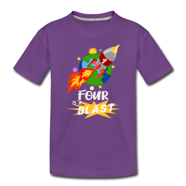 4 Years Old Birthday Rocket Space Ship Blast Off Toddler Premium T-Shirt - purple
