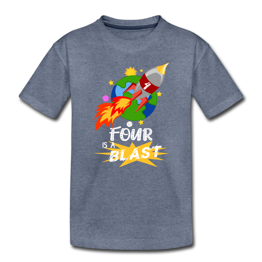 4 Years Old Birthday Rocket Space Ship Blast Off Toddler Premium T-Shirt - heather blue