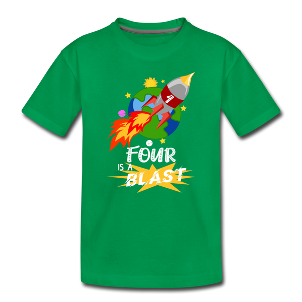 4 Years Old Birthday Rocket Space Ship Blast Off Toddler Premium T-Shirt - kelly green