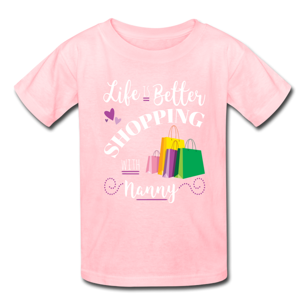 Life is Better Shopping With Nanny Youth Kids' T-Shirt - pink