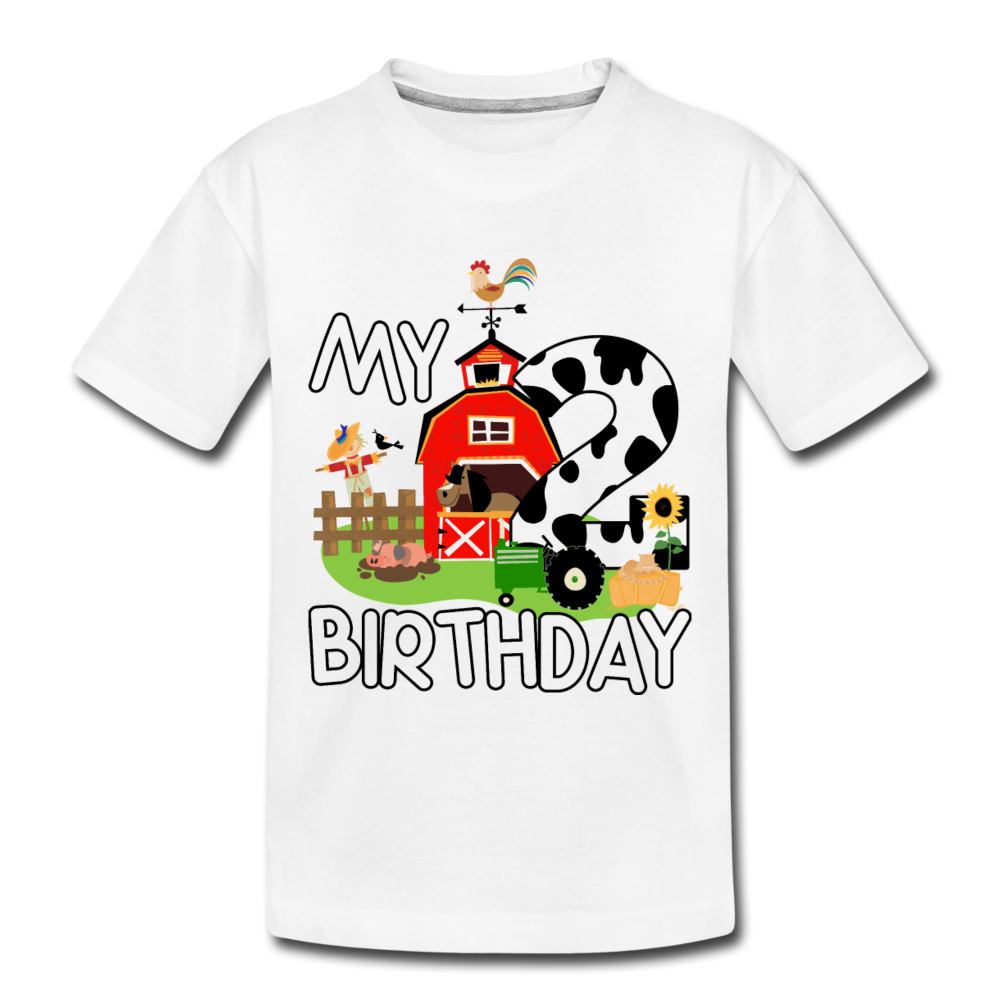My 2nd Birthday 2 Year Old Farm Toddler Premium T-Shirt - white