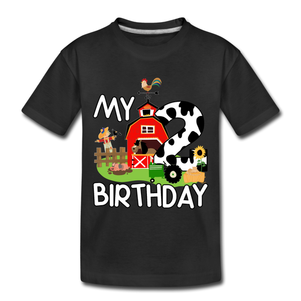 My 2nd Birthday 2 Year Old Farm Toddler Premium T-Shirt - black