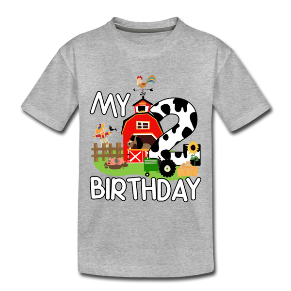 My 2nd Birthday 2 Year Old Farm Toddler Premium T-Shirt - heather gray