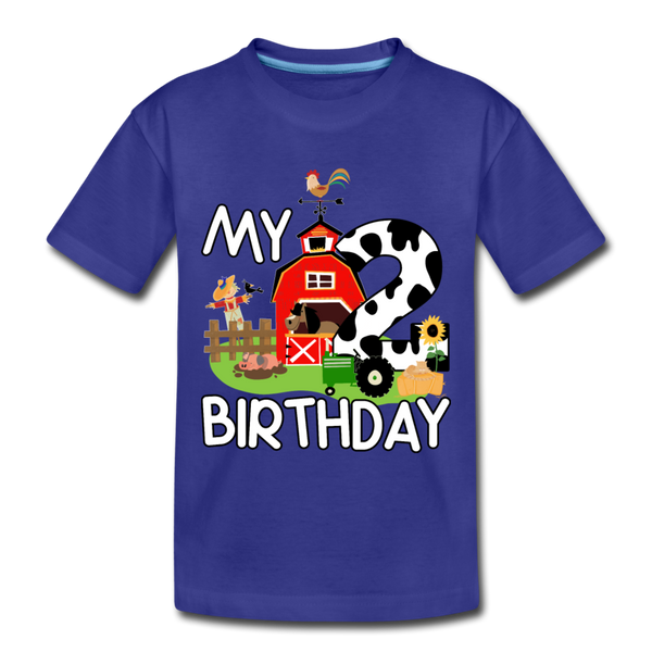 My 2nd Birthday 2 Year Old Farm Toddler Premium T-Shirt - royal blue