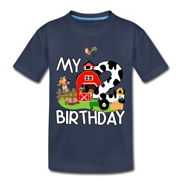 My 2nd Birthday 2 Year Old Farm Toddler Premium T-Shirt - navy