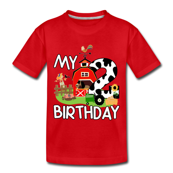 My 2nd Birthday 2 Year Old Farm Toddler Premium T-Shirt - red