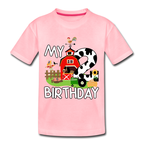 My 2nd Birthday 2 Year Old Farm Toddler Premium T-Shirt - pink