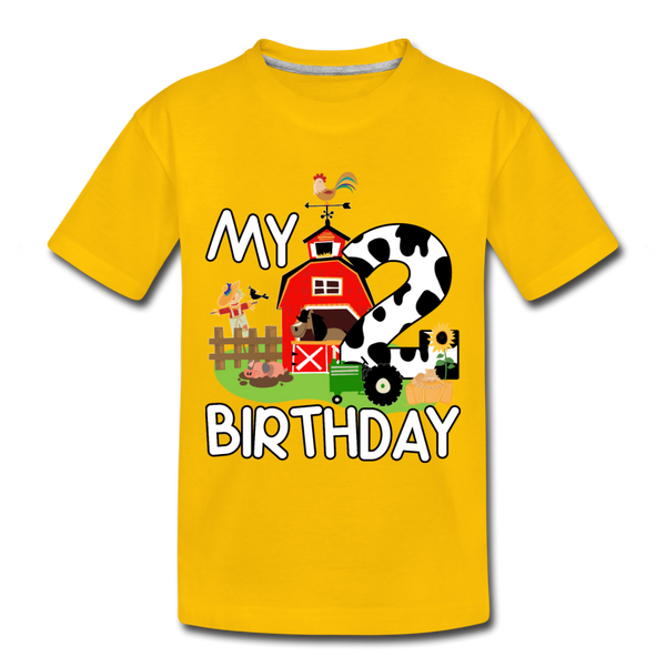 My 2nd Birthday 2 Year Old Farm Toddler Premium T-Shirt - sun yellow