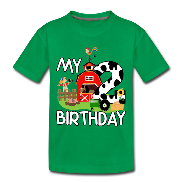My 2nd Birthday 2 Year Old Farm Toddler Premium T-Shirt - kelly green