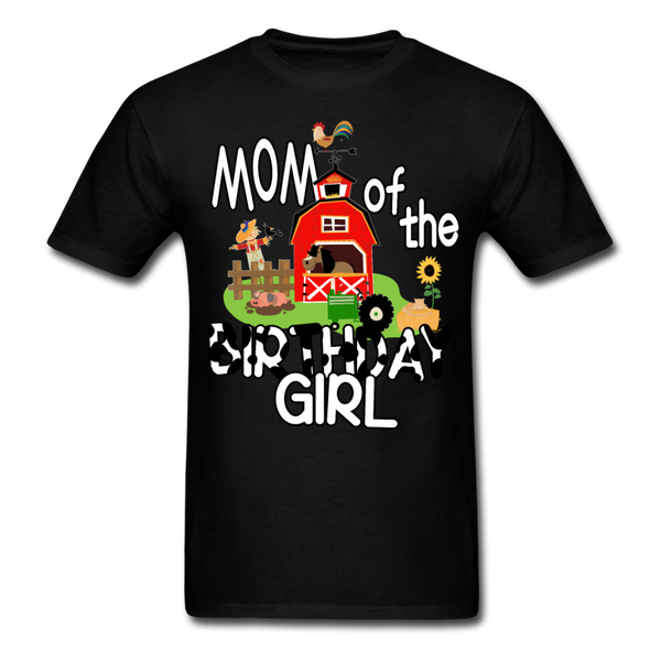 Mom of the Birthday Girl Farm Theme Unisex T-Shirt - black