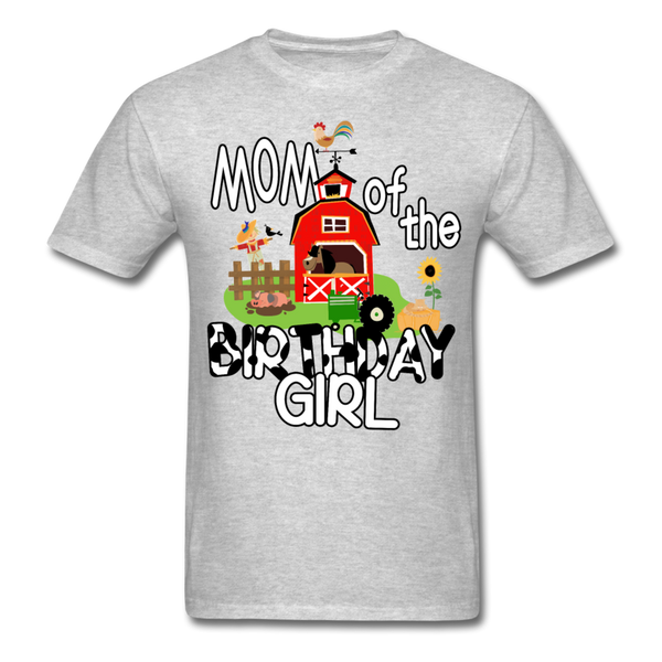Mom of the Birthday Girl Farm Theme Unisex T-Shirt - heather gray