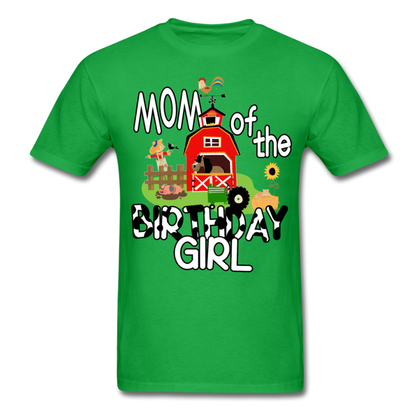 Mom of the Birthday Girl Farm Theme Unisex T-Shirt - bright green