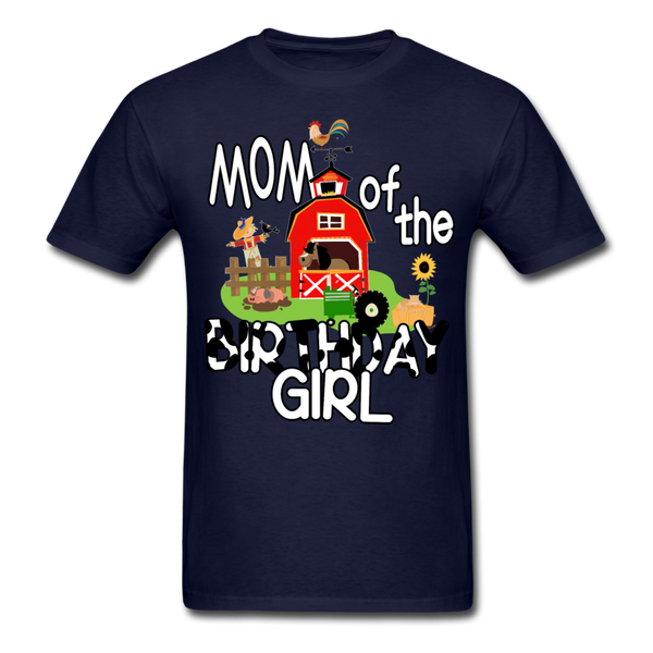 Mom of the Birthday Girl Farm Theme Unisex T-Shirt - navy