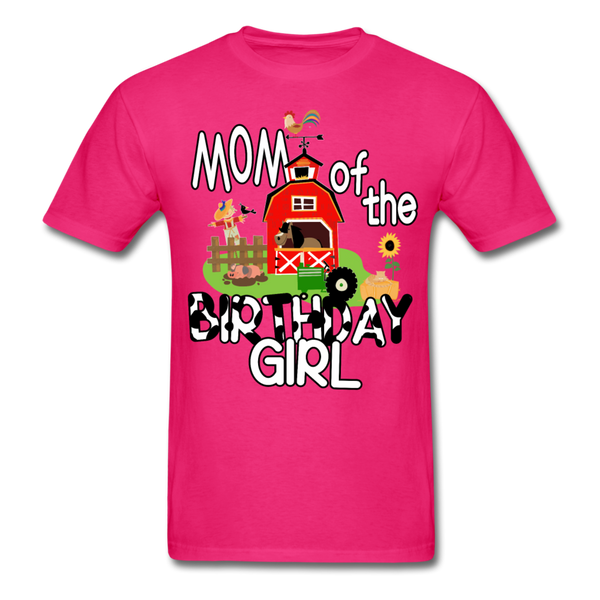 Mom of the Birthday Girl Farm Theme Unisex T-Shirt - fuchsia