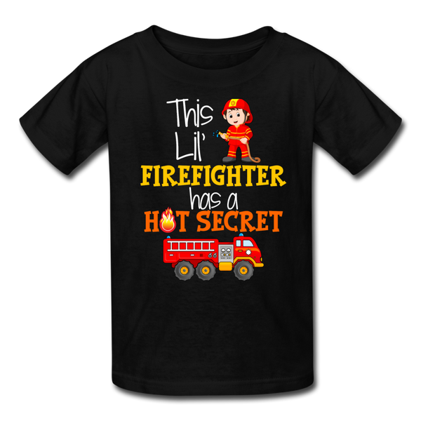 This Lil Firefighter Has A Secret Big Brother Kids' T-Shirt - black