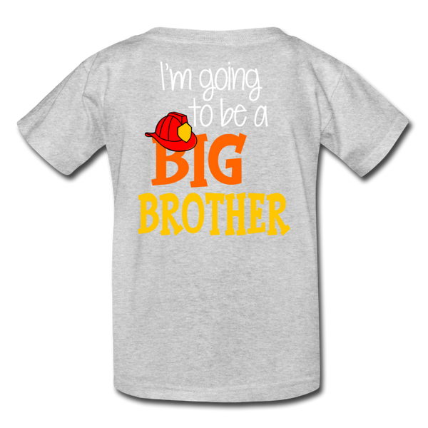 This Lil Firefighter Has A Secret Big Brother Kids' T-Shirt - heather gray