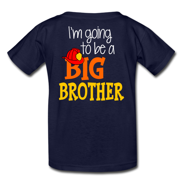 This Lil Firefighter Has A Secret Big Brother Kids' T-Shirt - navy