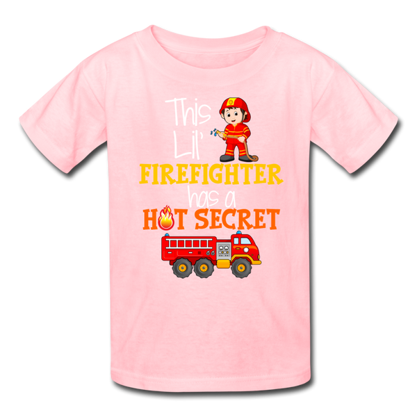 This Lil Firefighter Has A Secret Big Brother Kids' T-Shirt - pink